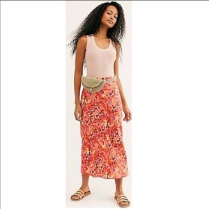 Free People Normani Bias Print Maxi Skirt Size 10